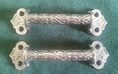2 Antique Victorian Window Lifts Sash Lifts  Drawer Pulls Handles Restored (A)
