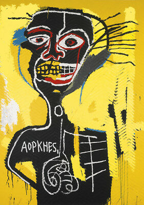 Jean Michel Basquiat oil Painting on Canvas graffiti art Cabeza 28x36""