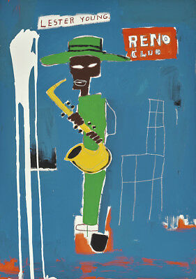 Jean Michel Basquiat oil Painting on Canvas graffiti art In The Wings 28x36""