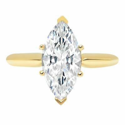 2.50ct Marquise Cut Solitaire Promise Engagement Wedding Ring 14k Yellow Gold
