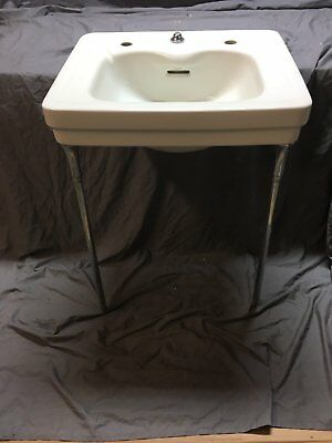 Vtg Ceramic White Porcelain Bathroom Wall Sink Chrome Legs Old Standard 23-18E