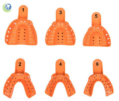 Dental Plastic Thermoform Disposable Impression Trays Perforated Assorted 6PC