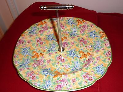 Antique Vintage Barker Bros English Chintz Cake Plate