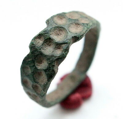 Ancient Old Bronze Ornament Decorated Ring ''Thimble Dots'' (JNR)