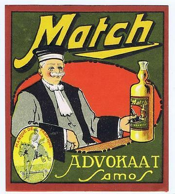Match, advokaat samos, marque de fabrique, antique liquor bottle label #21