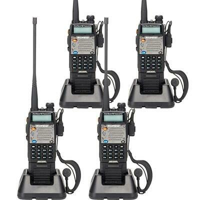 4 Pack BAOFENG UV-5XP 8W/5W/1W Dual-band Long Range Walkie Talkie Free Earphone