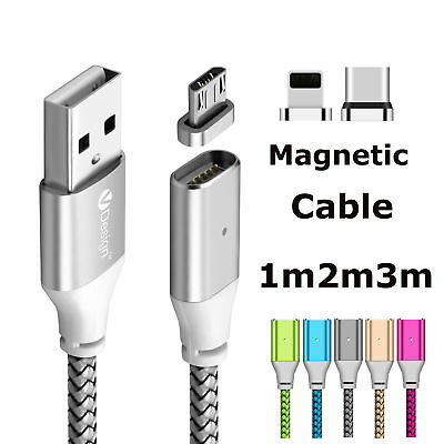 1-3m Magnetic Cable Charger Type C IOS Micro USB Charging Sync Cable Adapter Lot