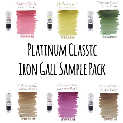 Platinum Classic Ink 3ml Sample Pack - Iron Gall - All 6 color-shifting colors!