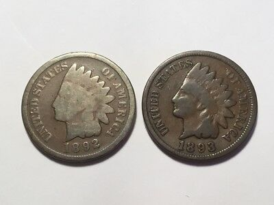 1892 & 1893 US Indian Head cent coin.