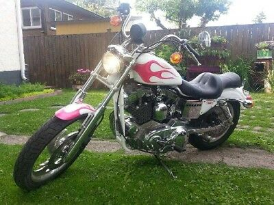 Harley-Davidson: Sportster Air brushed hot pink on white paint job, S&S driveline, mint condition 1500mi.