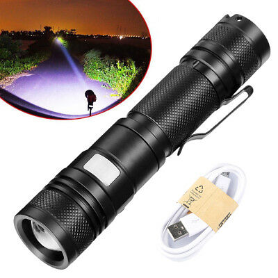 T6 Zoomable Tactical Military 20000Lumens 18650 USB Flashlight Torch LED Lamp