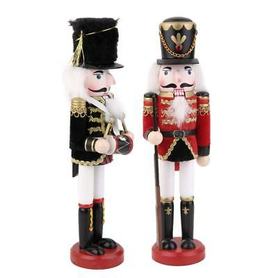 2X Wooden Soldier Puppet Christmas Nutcracker Toy Home Decoration Gift 30cm