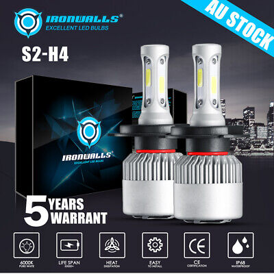 2 X H4 LED Headlight Upgrade Kit (6500K White Bulbs) For 1995-2008 HOLDEN RODEO
