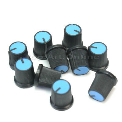10x Blue Top Rotary Knob Cap Plastic For 6mm Shaft Potentiometer 15mm Height
