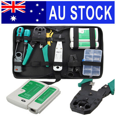 AU 11Pcs Network Combination PC Data Cable Wire Tester Crimping Cutter Punch Kit