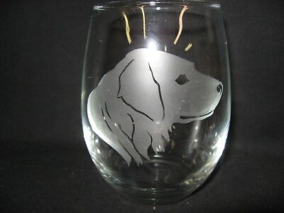 New Etched Flat-Coated Retriever Stemless Wine Glass Tumbler