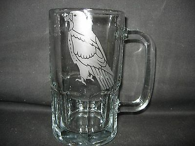 New Etched Red-Tailed Hawk Glass Root Beer Mug