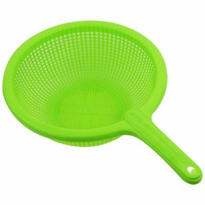 Plastic Long Handle Rice Colander Strainer Filter Green Q2G8