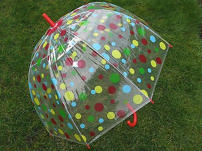 """Ladies 23"""" Dome Brolly Umbrella Red Yellow Blue Spot Design and Red Hook Handle"""