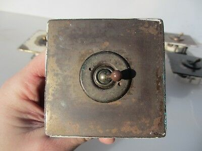 Vintage Brass Light Switch Square Plate Art Deco Antique Old England Wandsworth