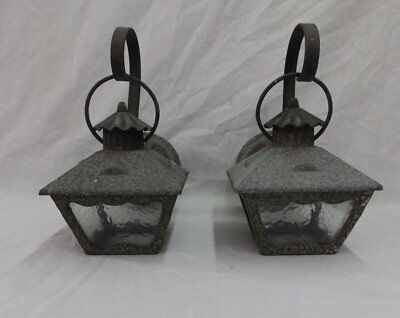 2  Vtg Sconce Light Fixture Craftsmen Mission Porch Lantern Copper Brass 227-18P