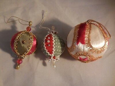 Vintage Beaded Sequined Christmas Ornament Balls Fabric and Satin