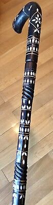 "Vintage Antique Mother Of Pearl Inlay Walking Stick Cane Bone Ferrule Old 36""L"