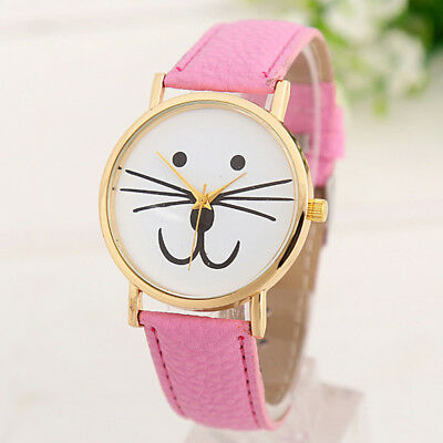 Girl Cute Cat Print Quartz Wristwatch Korean PU Leather Gift Watch Valentine