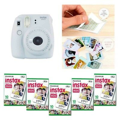 Fujifilm Instax Mini 9 Camera Smokey White 5 Packs Fuji Film 50 Photo 8