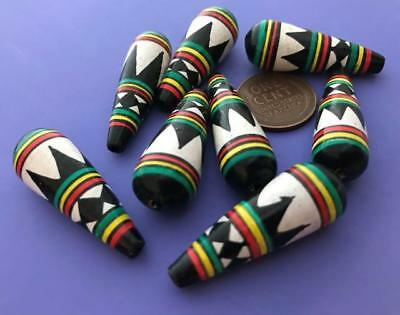 Vintage 12 x 34mm Hand Painted Peruvian Wooden Drop Beads 8