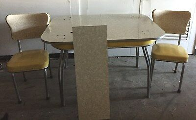 RETRO 1950s KITCHEN  DINING TABLE AND CHAIRS YELLOW GRAY