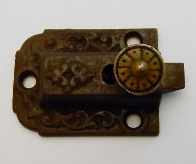 Antique Victorian Eastlake Cast Iron & Brass Cabinet Cupboard Door Latch