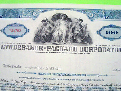 1950's STUDEBAKER PACKARD STOCK CERTIFICATE Blue 100-Shares ORIGINAL Cancelled