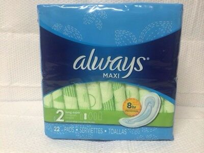 Always Maxi Size 2 Long Super 22 Sanitary Maxi Pads W/o Wings W/ Deep Channels