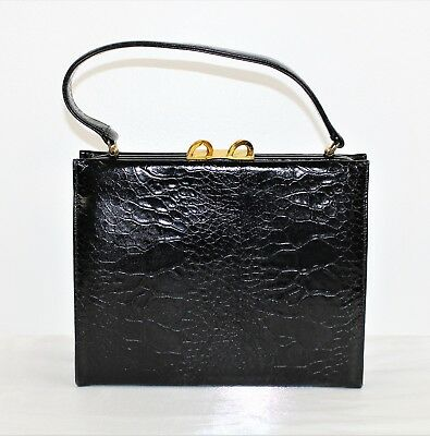 "Vintage 50's Black Embossed Croc Leather Handbag Purse by Caprice 11"" x 8 1/2"""