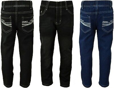 Boys Elastic Waist Jeans Tapered Leg Good Quality Denim Trousers Ages 3-14 Years