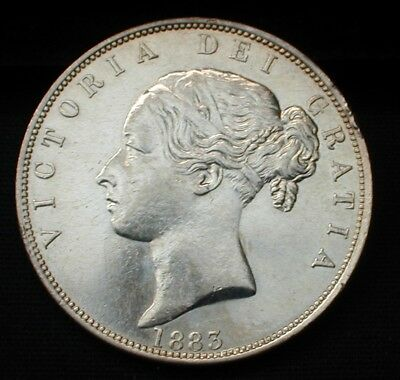 Rare Date 1883 Great Britain Half Crown Uncirculated Details Mount Removed