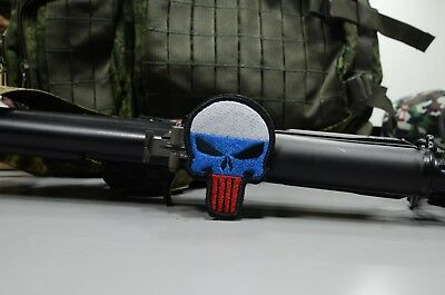Russian Flag Punisher skull patch, Tactical morale military patch