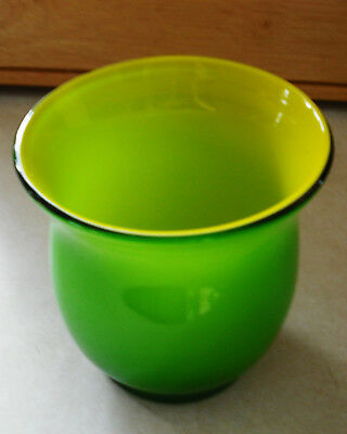 "Art Glass Blown Glass Flower Pot Vase Ground Pontil Yellow & Green 4.5"" X 4.5"""