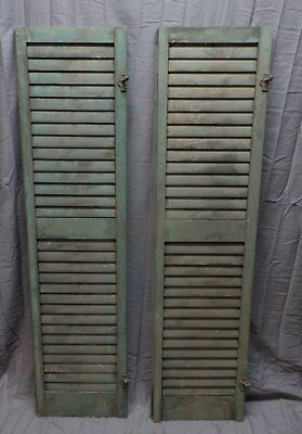 2 Antique House Window Wood Louvered Shutters 62x16 Shabby Vtg Chic 242-18P