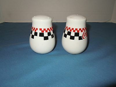 1996 Gibson Coca Cola Salt & Pepper Shakers Checkered**collectors**