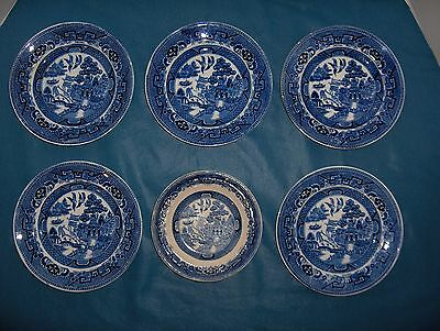"Antique ""Blue Willow"" Petrus Regout Maastricht  C. Before 1891 Lot of 6"