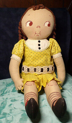 "20"" Cloth ~ Dolly Dingle ~ Doll ~ Brunette ~ Curls ~ Vintage ~ Yellow Dress"
