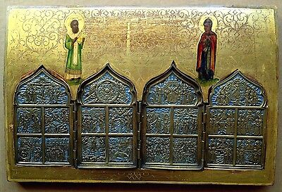 RARE: ANTIQUE RUSSIAN ICON ON WOOD & ENAMELED CAST BRASS 12 FEASTS St. GREGORY