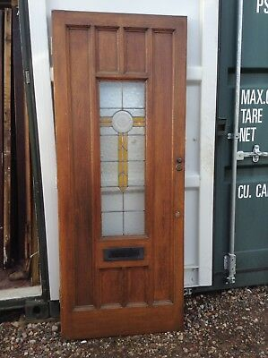 Amazing Vintage Stained Coloured Glass solid wood Hardwood Door Leaded glazed