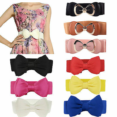 Women Bowknot Buckle Waistband Elastic Party Dress Bow Wide Stretch Waist Belt