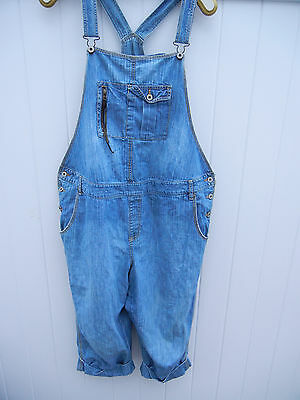 OLD NAVY MATERNITY XL Bib Overalls Light Weight Blue Denim Jeans Capri Low Waist
