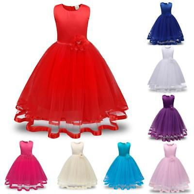 Flower Kids Girl Princess Bridesmaid Pageant Tutu Tulle Gown Party Wedding Dress