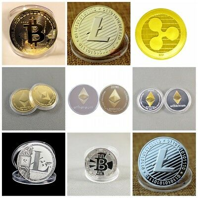 Bitcoin! Litecoin! Ethereum Coin! Gold Silver Plated Collectible Miner Art Gifts