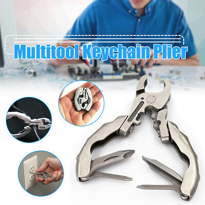 Folding Pocket Tool Multi-functional Keychain Plier Crimper Screwdriver Keyring